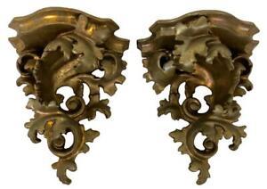 Pair Italian Florentine Gilded Wood Rococo Baroque Wall Shelves Brackets Sconces