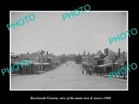 OLD POSTCARD SIZE PHOTO OF BEECHWORTH VICTORIA THE MAIN STREET & STORES c1900