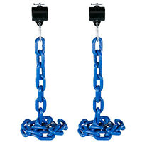 Weight Lifting Chain Pairs 20kg Olympic Bar Barbell Chain Power Home w/Collars