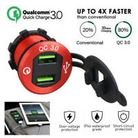 12V Car Quick Charge USB QC3.0 Charger Voltmeter Waterproof Car Charger Socket