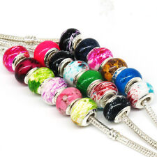 Hot 100Pcs Mix Style Color Acrylic Charm Bead Fit European Bracelets Jewelry F21
