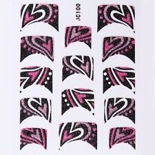Nail Art Decal Stickers Glitter Nail Tips Pink & Black Hearts JC100