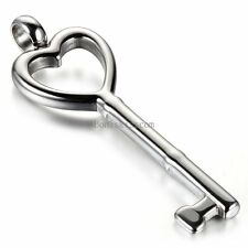 Stainless Steel Open Heart Key Pendant Necklace Silver w Chain Women's Men's