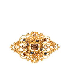 RRP €200 BEN-AMUN Baroque Style Brooch Gold Tone Rhinestone Embellished