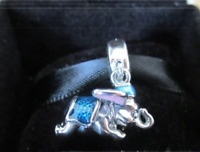 Genuine Sterling Silver Flying Dumbo Elephant Pendant Charm + Free Pandora pouch