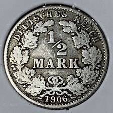 HISTORIC Germany 1/2 Mark 1906-G Silver 90% Coin
