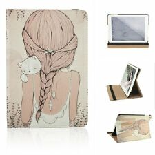 New Cute Girl Cat Kitty PU Leather Stand Skin Cover Case for iPad mini mini2