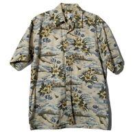 Pierre Cardin Men's Button Down Shirt ~ Sz M ~ Beige ~ Floral ~ Short Sleeve