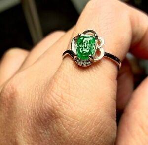 Certified Grade A green Jadeite Jade pixiu 925 silver Ring ,size adjustable