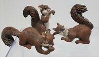 3 Resin Brown Squirrel Figurines - Decorative