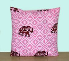 "Pink Elephant 16"" Indian Printed Hand Block Cushion Covers Pillows Case Covers"