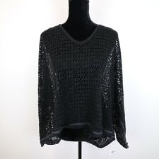 New Free People Black V Neck Womens Open Knit Sweater Size M