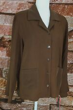 NWT Unique SILK Women's 12 Thin Brown 100% SILK LS Button Front w/ Pockets Top
