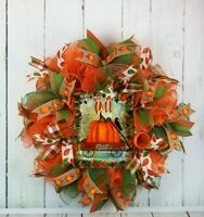 FRONT DOOR DECO MESH WREATH AUTUMN HELLO FALL SIGN PUMPKINS WAGON LEAVES
