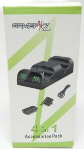 GameFitz 4 in 1 Accessories Kit Dual Charging Dock & Battery pack for Xbox One
