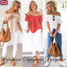 UK Womens One Off Shoulder Casual Frill Tops Loose Blouse Ladies T Shirt 6-20