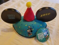 Disneyland HAPPY BIRTHDAY Mickey Mouse Ears Hat 2017 With Birthday Button (B)