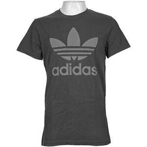 Adidas originals cracked trefoil DISTRESSED t shirt washed black crew neck S M