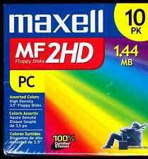 Maxell MF2HD Floppy Disks 10-pk - (10-pack, Assorted Colors) BRAND NEW / SEALED