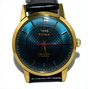 Vintage HMT Sona Green Dial Mechanical Hand Winding 17J Men's Wrist Watch