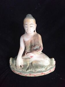 Antique Burmese Buddha Alabaster Seated Gautama Meditation Vipassana Dharma