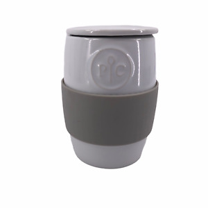 Pampered Chef Ceramic Egg Cooker #1529 Microwave & DW Safe Silicone Sleeve