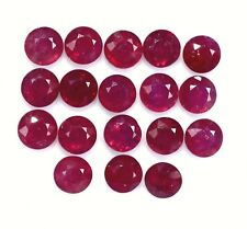 3.75 Cts Natural Ruby Round Cut 4 mm Lot 09 Pcs Lustrous Red Loose Gemstones GF