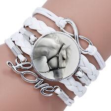 Amante dei cavalli in pelle infinito braccialetto wrap