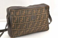 Authentic FENDI Zucca Shoulder Bag Canvas Leather Brown 96519