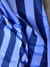 Quality Blue Striped Faux Silk Taffeta Curtain & Interior Fabric Material, Per M
