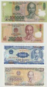 Vietnam. 4 banknotes, 1000Dong, 1988, 5000, 10,000 & 100,000 Dong. Nice Grades