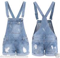 NEU LATZHOSE DENIM SHORTS Womens Größe eu 34 36 38 40 14 Damen RIEMEN Jeans
