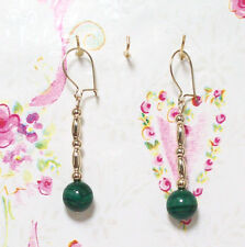 Malachite With 14K Gold Earrings. 1.5 Inches Long. MC14K004
