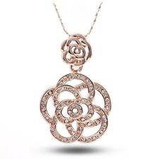 "18ct Rose Gold Filled Crystal Necklace With Swarovski Elements ""ROSY ROSE"" N63"