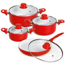 Set bateria de cocina ollas 8 piezas con tapas cristal sartén rojo