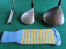 Knitted zebra style Fairway & Driver Golf Club head cover Lt. Blue / Lt. Orange