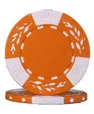 100pcs 10.5g Wheat No Metal Insert Poker Chips Orange