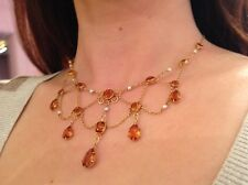 14K Yellow Gold Vintage Festoon Necklace with Citrine & Pearl  - HM989