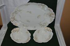 Vintage Haviland Limoges Blue Flowers 9178 Large Platter and Two Serving Bowls