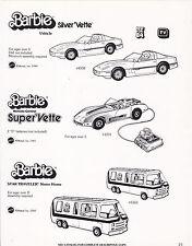VINTAGE AD SHEET #3460 - 1983 MATTEL - BARBIE SUPER CORVETTE CAR - MOTOR HOME