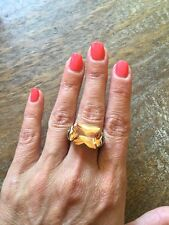 "NEW ""designer inspired"" Amber Topaz Rectangular CZ Ring w Cable shank - size 8"