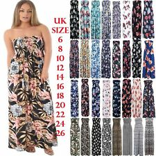 Womens Strapless Floral Maxi Dress Ladies Long Sheering Boob tube Bandeau Dress