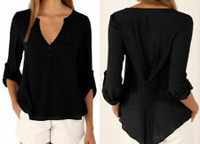 Women Summer Casual Long Sleeves Chiffon Tee T Shirt Blouse Loose Tops Size 8-24
