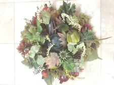 Table Top Candle Holder or Wreath 18 inches muted colors of rust green fruit
