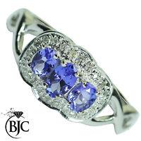Bjc 9Ct Oro Blanco Tanzanita y Diamante Tamaño N Anillo de Vestir R68