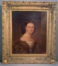 19thC Antique Antebellum Era Lady Old Victorian Estate Oil Portrait Painting