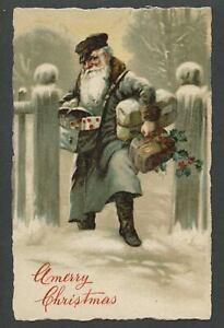 c.1910 SANTA CLAUS POSTMAN MAILMAN Germany SB Special Lithograph X-Mas Postcard4