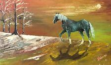 Peinture cheval au clair de lune fôret signée Thiovon