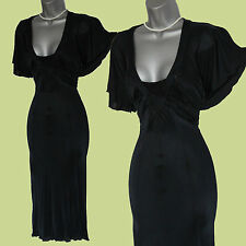 Karen Millen Black Butterfly Sleeve Floaty Evening Midi Dress sz-10 EU-38