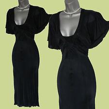 Karen Millen Black Butterfly Sleeve Floaty Evening Midi Dress sz-10 EU-38